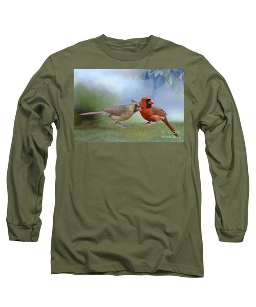 Northern Cardinals On A Spring Day Long Sleeve T-Shirt by Bonnie Barry