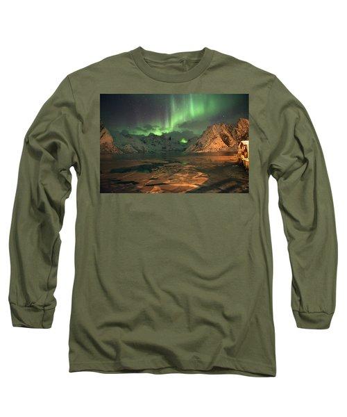 Northern Light In Lofoten, Nordland 1 Long Sleeve T-Shirt by Dubi Roman