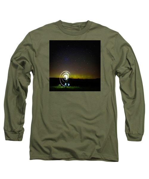 Northern Lights And Night Writing Long Sleeve T-Shirt