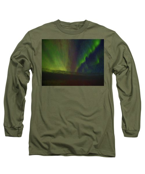 Northern Lights Or Auora Borealis Long Sleeve T-Shirt by Allan Levin