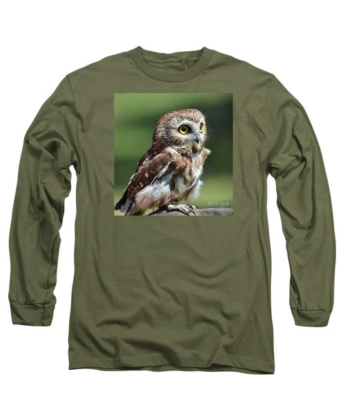 Northern Saw Whet Owl Long Sleeve T-Shirt by Amy Porter