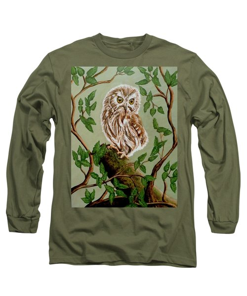Northern Saw-whet Owl Long Sleeve T-Shirt by Teresa Wing