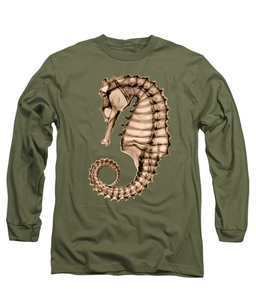 Northern Seahorse X-ray On Sepia Long Sleeve T-Shirt by George Green