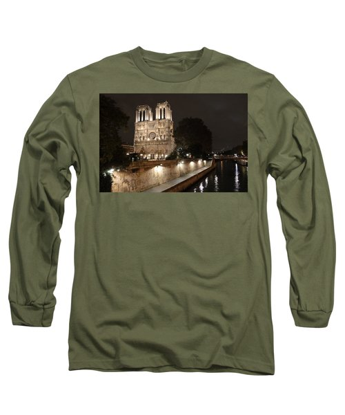 Long Sleeve T-Shirt featuring the photograph Notre Dame Cathedral From Petit Pont by Christopher Kirby