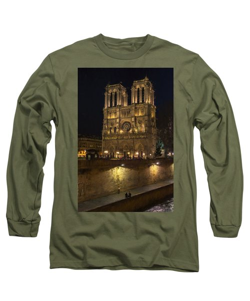 Notre Dame Night Painterly Long Sleeve T-Shirt