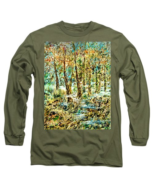 Long Sleeve T-Shirt featuring the painting November Morn by Alfred Motzer