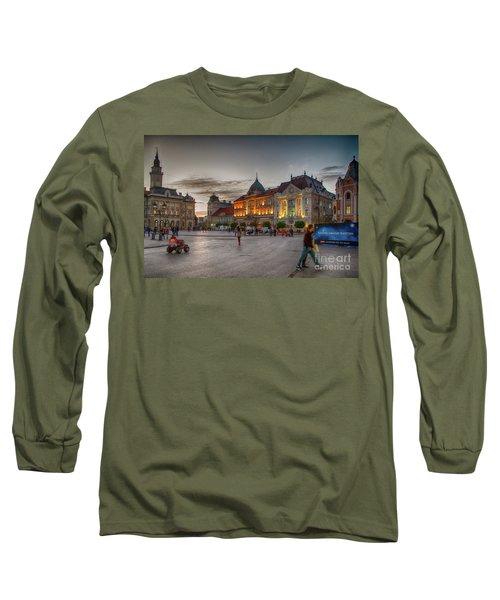 Novi Sad Liberty Square At Twilight Long Sleeve T-Shirt