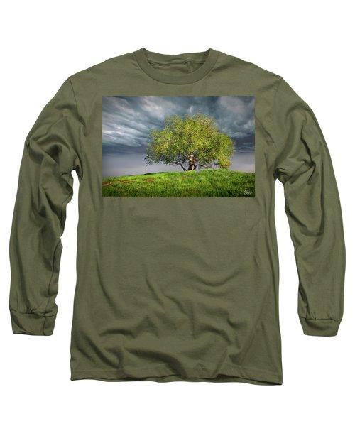 Oak Tree With Tire Swing Long Sleeve T-Shirt