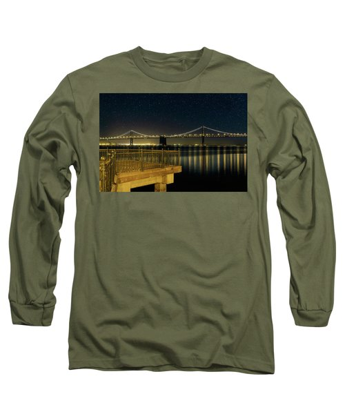 Oakland Bay Bridge By The Pier In San Francisco At Night Long Sleeve T-Shirt