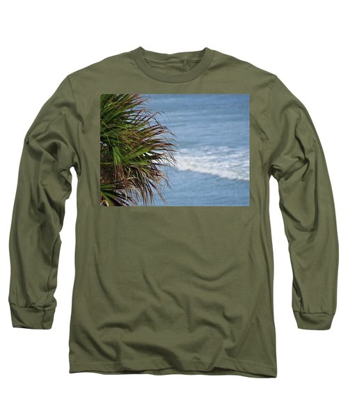 Ocean And Palm Leaves Long Sleeve T-Shirt by Kathy Long