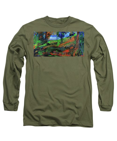Long Sleeve T-Shirt featuring the painting Ocean View Through The Forest by Walter Fahmy