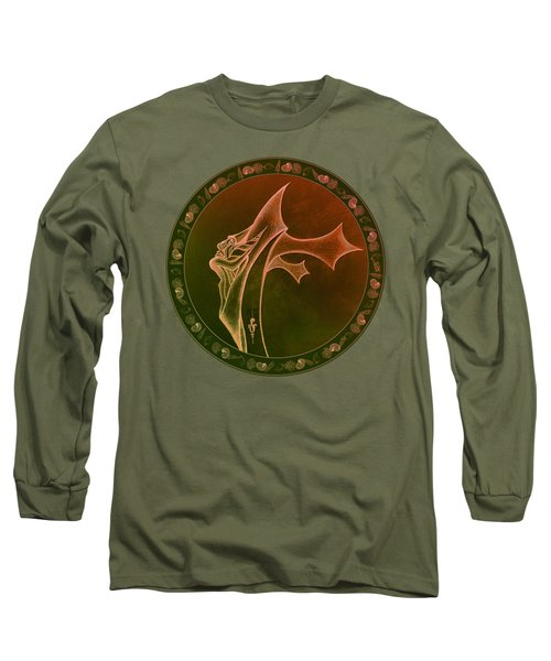 Long Sleeve T-Shirt featuring the drawing Oceanus Greek God  by Robert G Kernodle