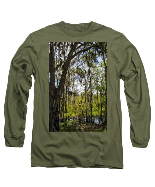 Ocklawaha Spanish Moss In The Swamp Long Sleeve T-Shirt by Deborah Smolinske
