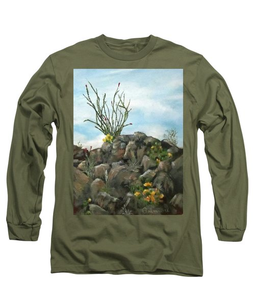 Long Sleeve T-Shirt featuring the painting Ocotillo In Bloom by Roseann Gilmore