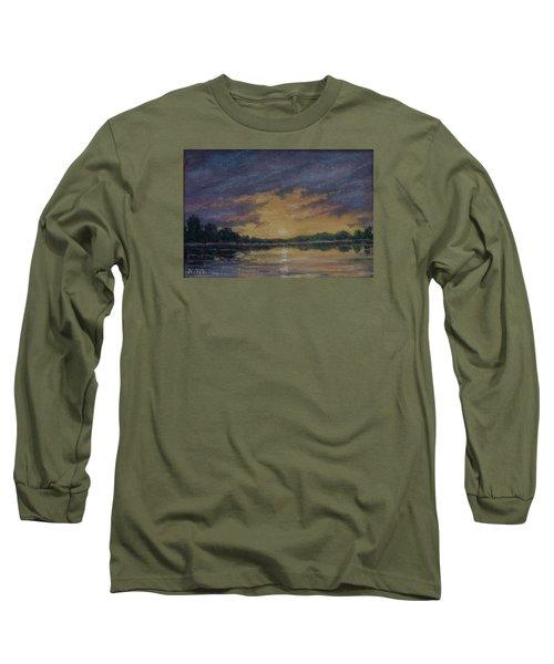 Offshore Sunset Sketch Long Sleeve T-Shirt by Kathleen McDermott