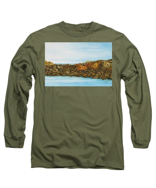 Ogunquit Maine Sail And Rocks Long Sleeve T-Shirt