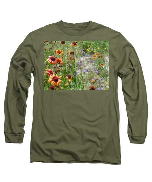 Oh Hi Orange Red Purple Flowers Long Sleeve T-Shirt