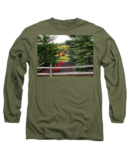 Long Sleeve T-Shirt featuring the photograph Ohio Farm In Autumn by Joan  Minchak