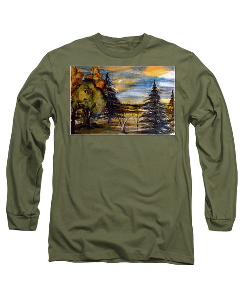 Long Sleeve T-Shirt featuring the painting Ohio Sunset by Mindy Newman