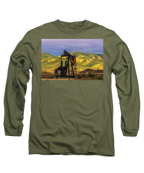 Long Sleeve T-Shirt featuring the photograph Oil Field And Temblor Hills by Marc Crumpler