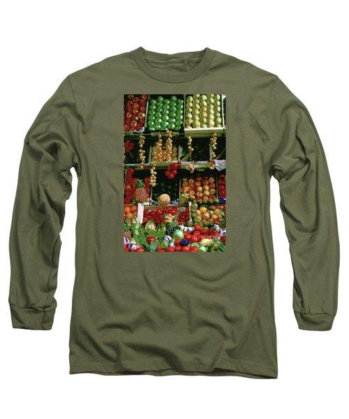 Oil Painted Faux Paris Fruit Display Long Sleeve T-Shirt