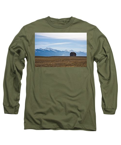 Old Barn, Mission Mountains Long Sleeve T-Shirt