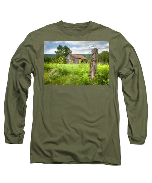 Long Sleeve T-Shirt featuring the photograph Old Barn Near Stryker Rd. Rustic Landscape by Gary Heller