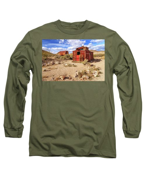 Long Sleeve T-Shirt featuring the photograph Old Caboose At Rhyolite by James Eddy