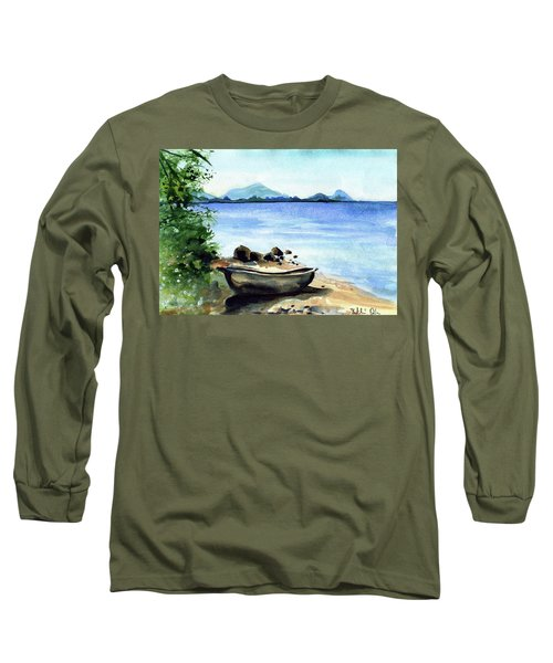 Long Sleeve T-Shirt featuring the painting Old Carved Boat At Lake Malawi by Dora Hathazi Mendes