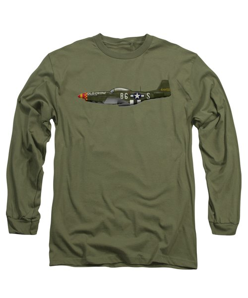 Old Crow - P-51 D Mustang Long Sleeve T-Shirt by Ed Jackson