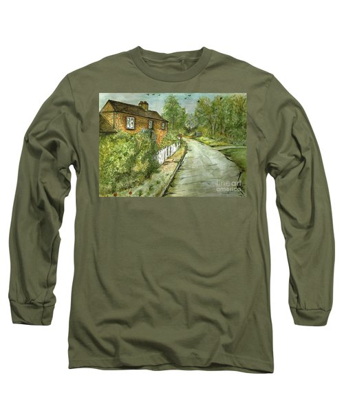Long Sleeve T-Shirt featuring the painting Old English Cottage by Teresa White