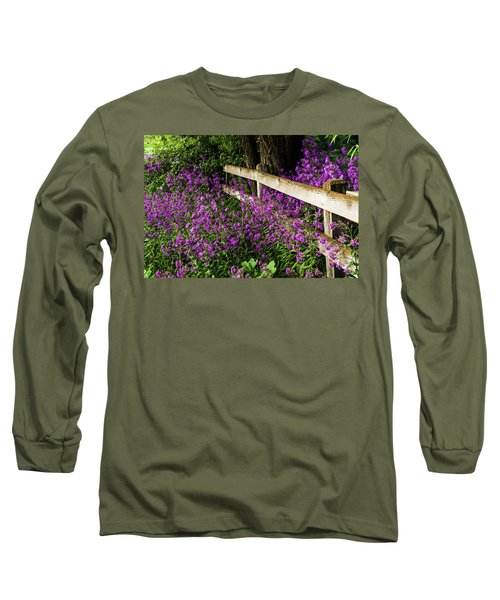 Old Fence And Purple Flowers Long Sleeve T-Shirt
