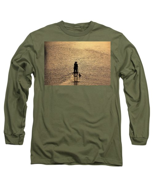 Old Man Paddling Into The Sunset Long Sleeve T-Shirt