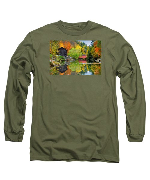 Old Mill In The Fall  Long Sleeve T-Shirt by Emmanuel Panagiotakis