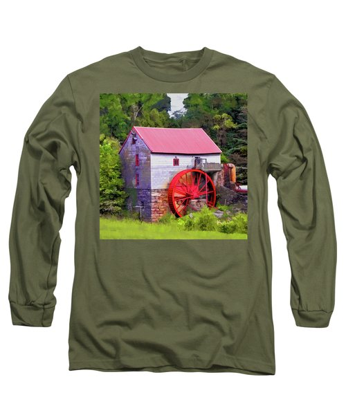 Old Mill Of Guilford Painted Square Long Sleeve T-Shirt by Sandi OReilly