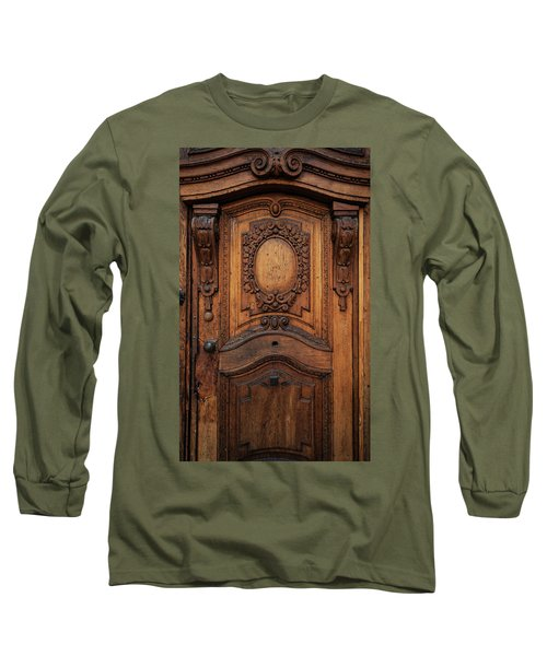 Old Ornamented Wooden Doors Long Sleeve T-Shirt by Jaroslaw Blaminsky