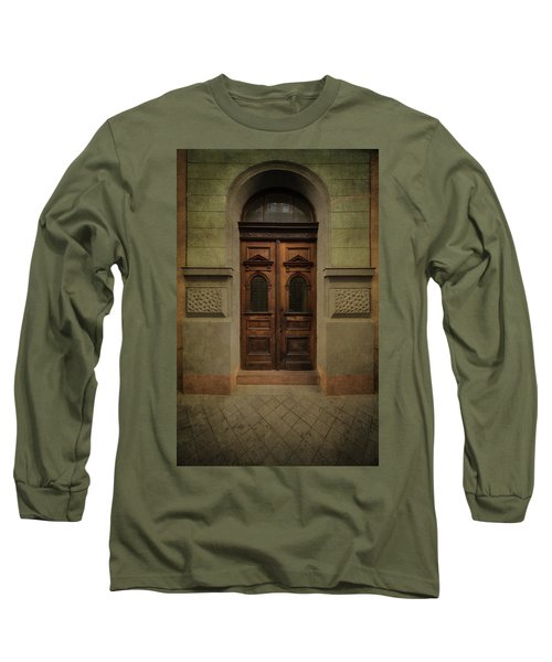 Old Ornamented Wooden Gate In Brown Tones Long Sleeve T-Shirt by Jaroslaw Blaminsky