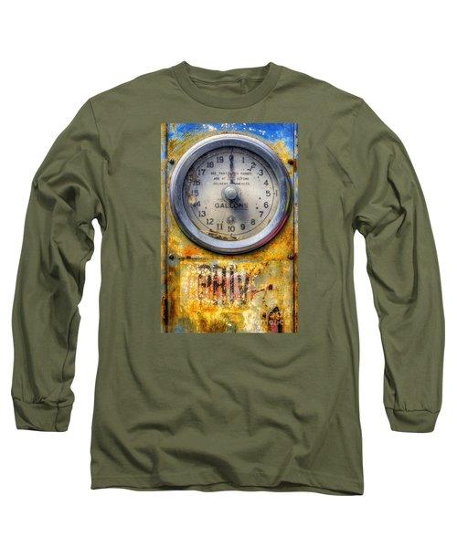 Old Petrol Pump Gauge Long Sleeve T-Shirt by Ian Mitchell
