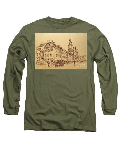 Old Poznan Drawing Long Sleeve T-Shirt by Maja Sokolowska