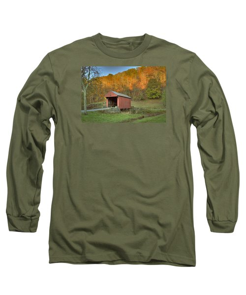 Old Red Or Walkersville Covered Bridge Long Sleeve T-Shirt