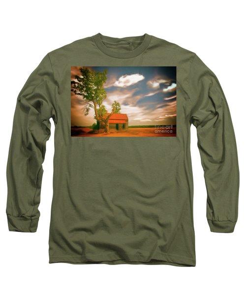 Old Rustic Vintage Farm House And Tree Ap Long Sleeve T-Shirt by Dan Carmichael