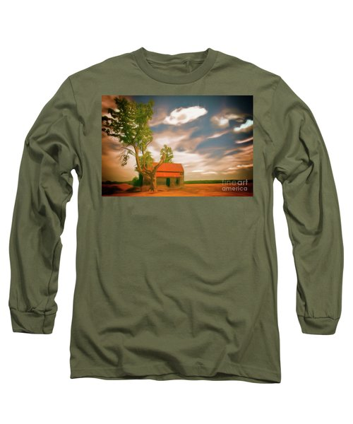 Old Rustic Vintage Farm House And Tree Ap Long Sleeve T-Shirt