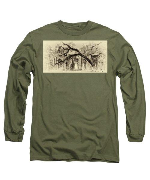 Old Sheldon Church Ruins Bw Long Sleeve T-Shirt