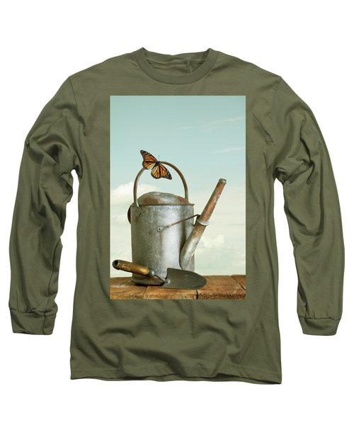 Old Watering Can With A Butterfly Long Sleeve T-Shirt