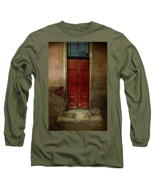 Old Wooden Gate Painted In Red  Long Sleeve T-Shirt by Jaroslaw Blaminsky