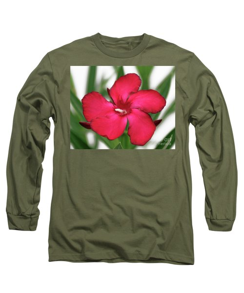 Oleander Blood-red Velvet 1 Long Sleeve T-Shirt by Wilhelm Hufnagl