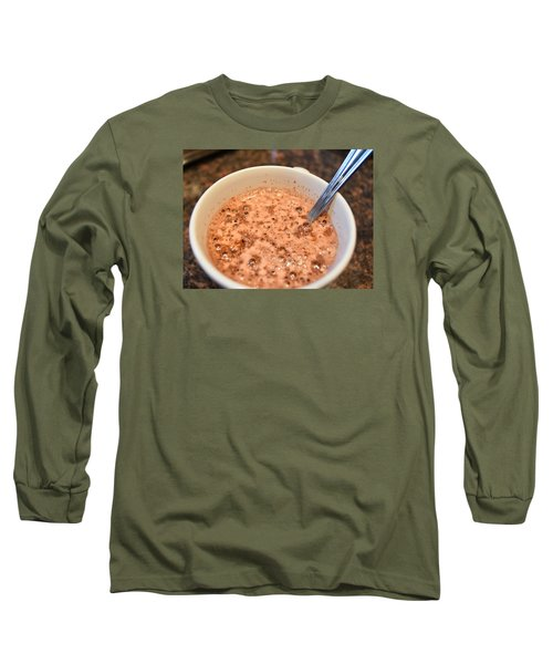 On A Cold Rainy Day A Cup Of Hot Chocolate Hits The Spot Long Sleeve T-Shirt by Dacia Doroff