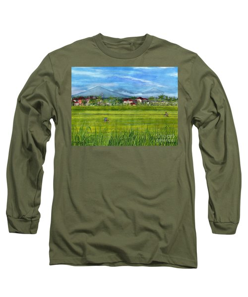 Long Sleeve T-Shirt featuring the painting On The Way To Ubud 3 Bali Indonesia by Melly Terpening