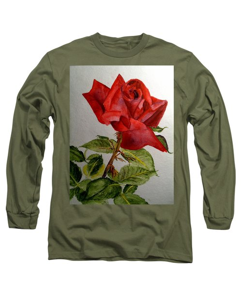 Long Sleeve T-Shirt featuring the painting One Single Red Rose by Carol Grimes