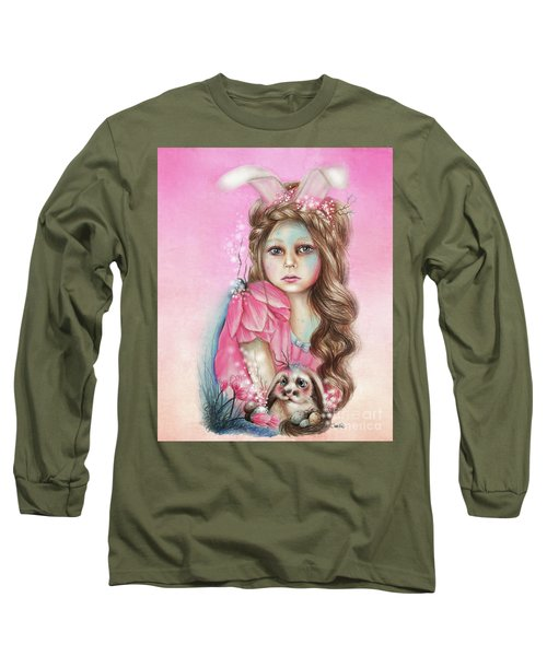 Long Sleeve T-Shirt featuring the mixed media Only Friend In The World - Bunny by Sheena Pike
